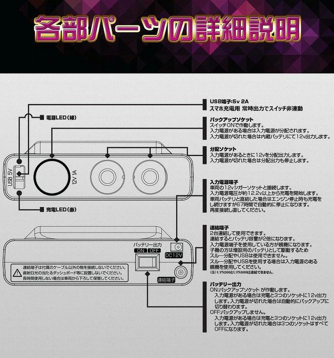 増量版 車両三又シガーソケット UPS300